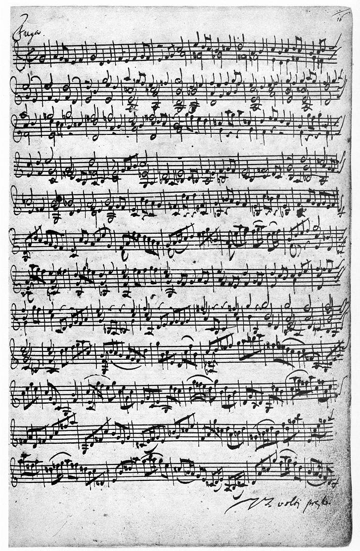 Representative page of Bach fuge manuscript